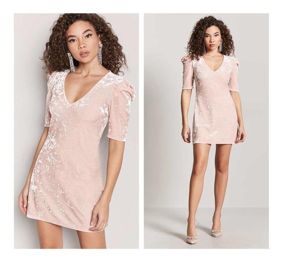 Mini Vestido De Terciopelo Rosa Forever 21