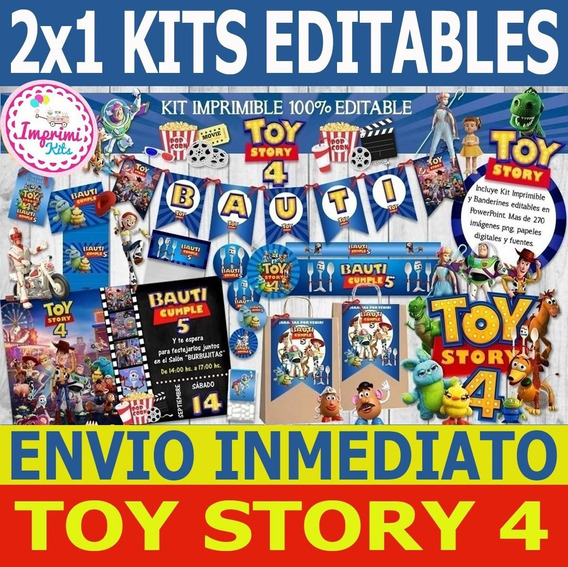 2x1 Promo Kit Imprimible Toy Story 4 Forky Candy Bar, Deco