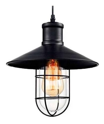 Luminaria Colgante Metálico Chico Negro Con Reja Interelec