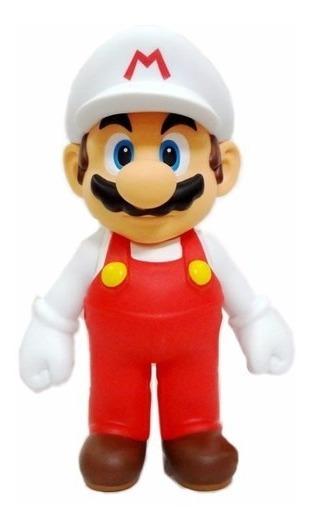 Boneco Super Mario Fire Branco C/ Caixa Original Grande 20cm