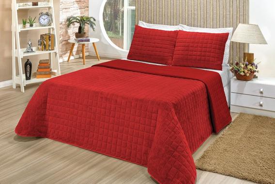 Cobertor Casal Queen 3 Pçs Cobersof Cobre Leito Vermelho
