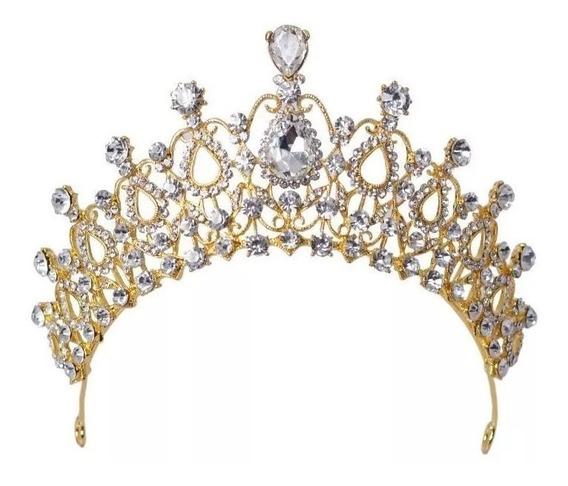 Tiara Coroa Dourada Noivas Debutantes Strass Cód 01