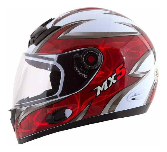 Capacete Moto Homem Mixs Mx5 Blade Decall Branco Vermelho