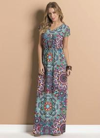 Vestido Longo Mandala Com Decote Em Vfrete Grátis