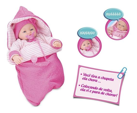 Boneca Dorme Bebê - C/ Saco De Dormir - Chora E Ri - Roma