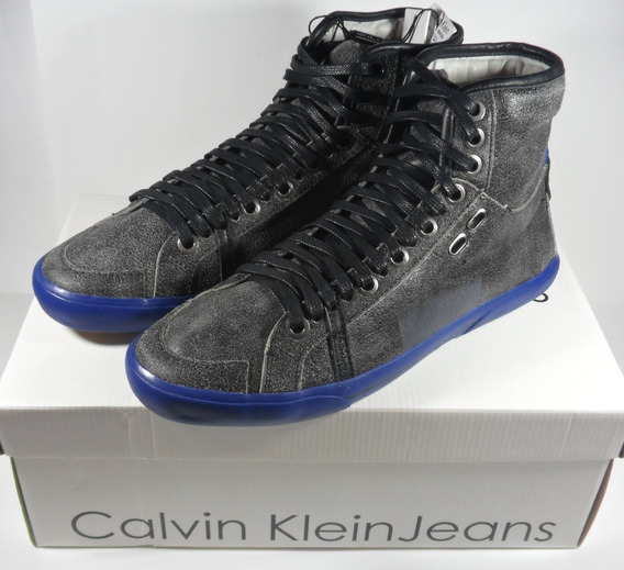 Tênis Couro Calvin Klein Clubman Cano Alto - Couro Stoned
