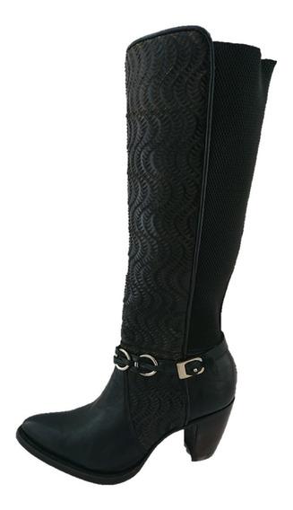 Bota De Dama Marca Cuadra Vaquera De Vestir Color Negra Piel