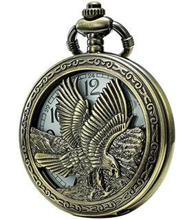 Reloj Retro De Bolsillo De Cuarzo Esfera Blanca Bronce Suave