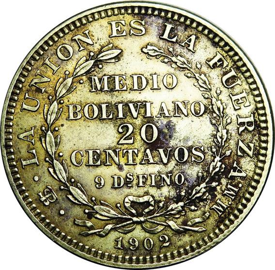 .: Bolivia Ensayo 20 Centavos 1902 Mm Reverso Medalla :.