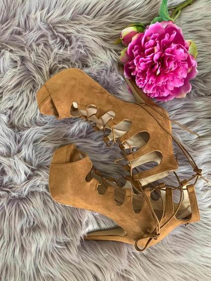 Hermosos Zapatos De Tacón Con Cintas Y Cierre