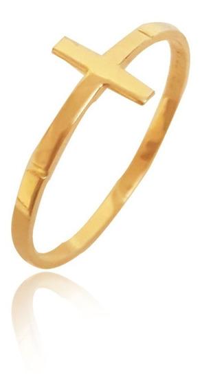 Anel Viu Gold Ouro 18k Amarelo De Cruz