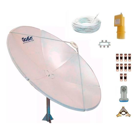 Antena Parabólica Chapa 180cm Lnbf Banda C Ku Cabo Divisor