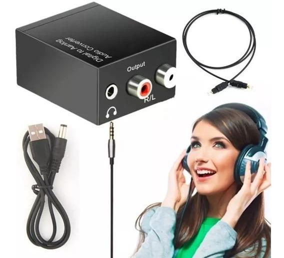 Adaptador Conversor Áudio Ótico Toslink Para Rca P2 Fone