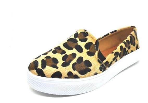 Sapatos Femininos Tenis Casual Veludo Onça Dani K