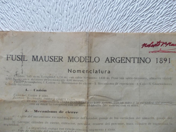 Nomenclatura Fusil Mauser Mod. Arg. Año 1891- 23x32 (r3)