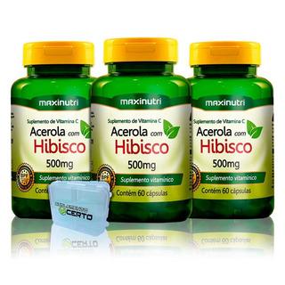 Chá De Hibisco Com Acerola 60 Caps + Porta Caps - Maxinutri
