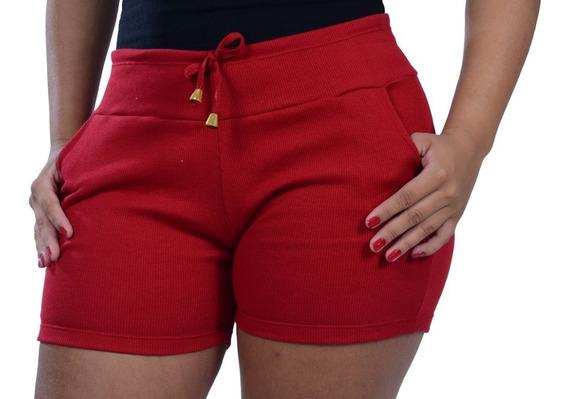 Kit 40 Short Feminino Cintura Alta Ribana Moletom Canelado