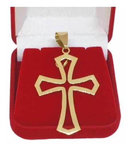 Pingente Masculino Crucifixo Ouro 18k Cruz Vazada 2,5 Gramas