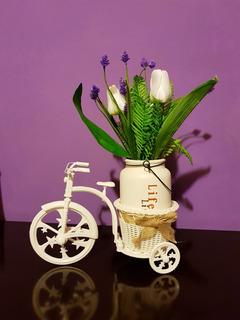 Planta Artificial Decorativa Con Bicicleta Centro De Mesa