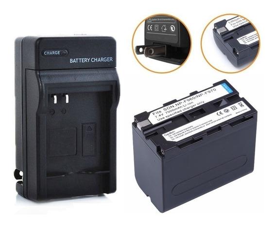 Kit Bateria Np-f970 F960 Carregador Led 6600mah Yn600 Yn608
