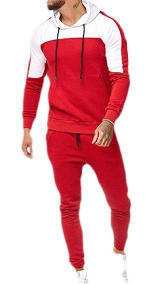 Terno Esportivo Contraste Jogging Suéter Completo Hoodies T