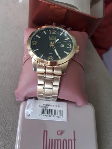 Relógio Feminino Dumont Dourado Pulseira De Aço Satm