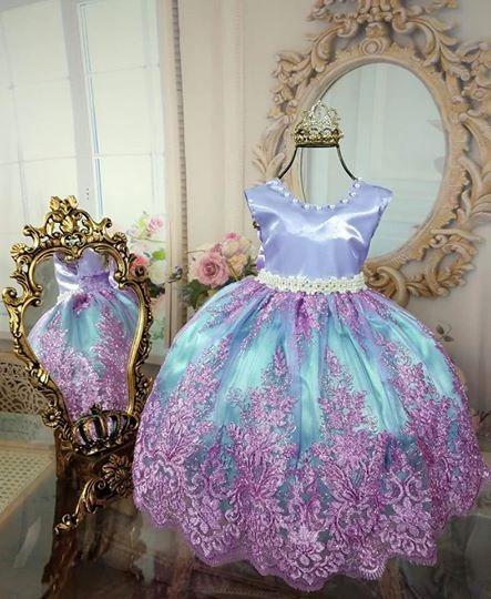 Vestido Festa Sereia Ariel + Coroa Realeza