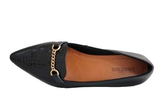 Sapato Feminino Usaflex Bico Fino Couro Legitimo 6604