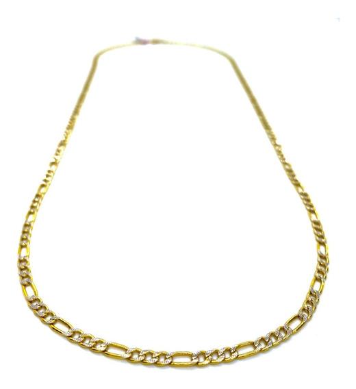 Cadena De Oro 14k Hombre Tejido 3x1 Diamantada 3mm 55cm