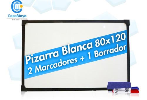 Pizarra Blanca 80x120 Bordemetálico + 2marcadores + Borrador