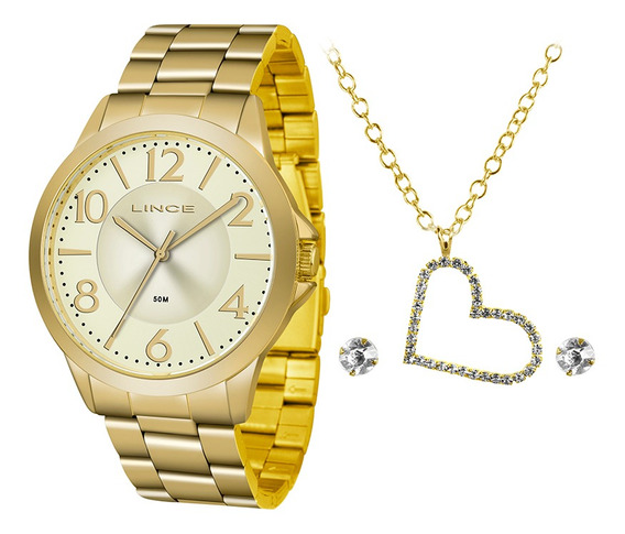 Kit Relógio Fem Lince Puls Aço Inox 50m Lrgj080l-kv86c2kx