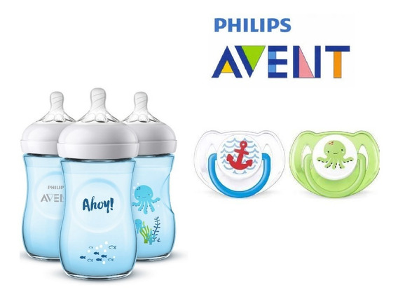 Mamadera Avent Diseño Exclusivo 260 Ml + Pack De Chupetes