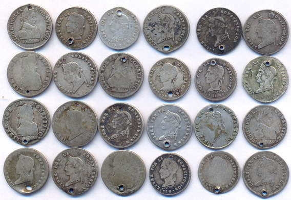 Bolivia Plata 1/2 Sol Árbol Lote X 24 Monedas Para Estudio