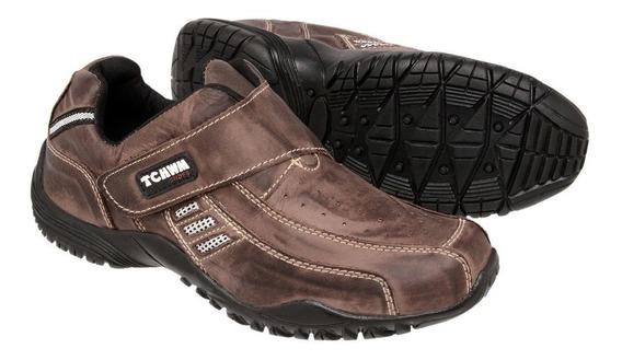 Sapatênis Sapato Masculino 100% Couro Bovino Facil Calçar