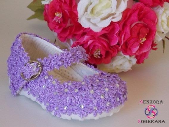 Sapatilha Infantil Roxa Florada (casamento)(daminha)