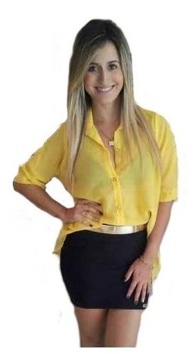 Saia Curta Feminina Bandagem Cós Alto