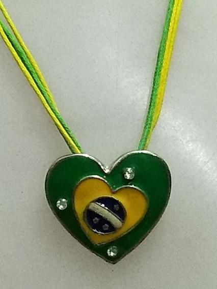 Lindo Colar Torcida Copa Brasil - Coração Bandeira Strass 2