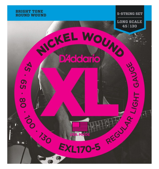 Encordado Daddario Exl170-5 Xl 045 - 130 Para Bajo 5 Cuerdas