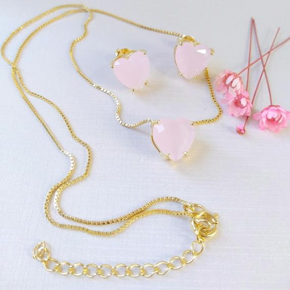 Conjunto Coração Rosa Folheado A Ouro Semijoia