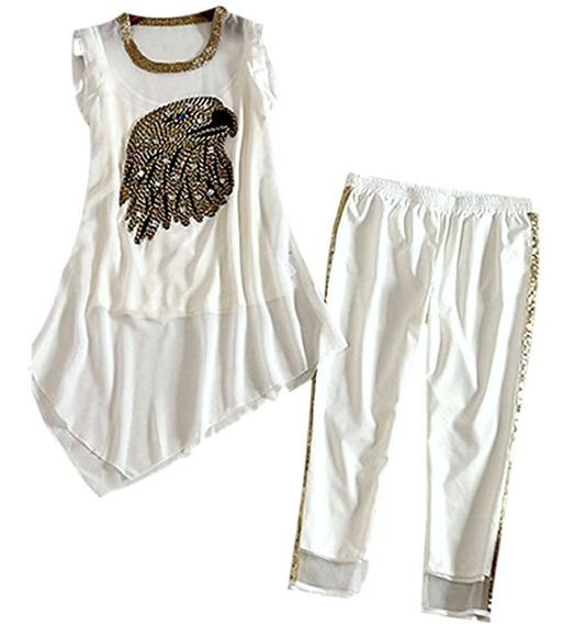 Conjunto Branco Em Seda Pura De Calça E Blusa Bordados