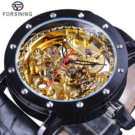 Relógio Forsining Dourado Automático + Caixa