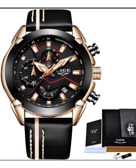 Relógio Masculino De Couro Black Lige Original