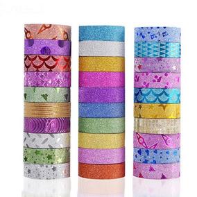 30 Washi Tapes Fita Adesiva Decorada C/ Glitter Scrapbook