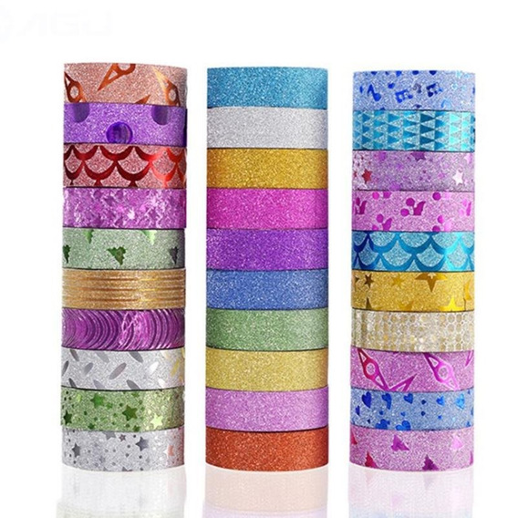 30 Washi Tapes Fita Adesiva Decorada C/ Glitter Scrapbook
