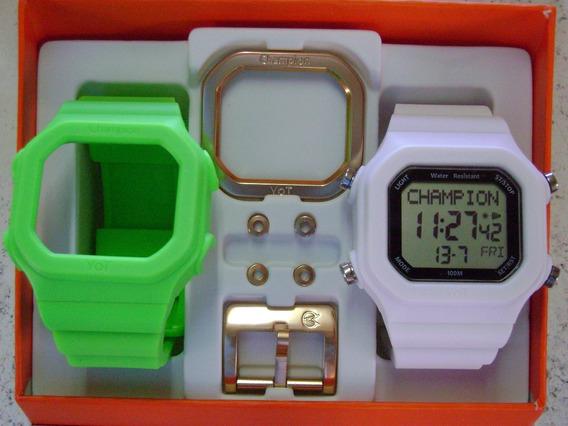 Relógio Champion Yot Original Cp40180x Nf Verde Neon Branco