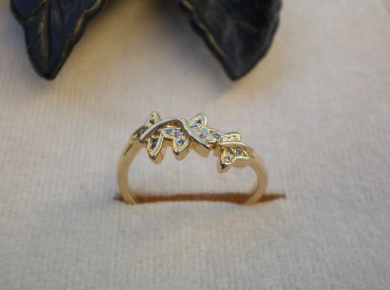 Anel Borboletas Com Mini Zirconias Banhado A Ouro Aro 20