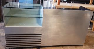 Mostrador Mesa De Cobro De Madera Con Cristal Y Aluminio