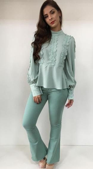 Calça Jeans Flare Verde 170994
