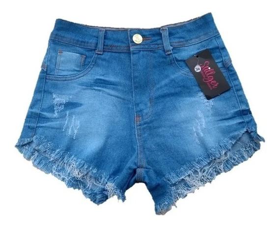 Shorts Shortinho Feminino Jeans Cintura Alta Casual