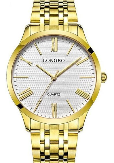 Relógio Masculino Dourado Longbo Clássico 80265g Original